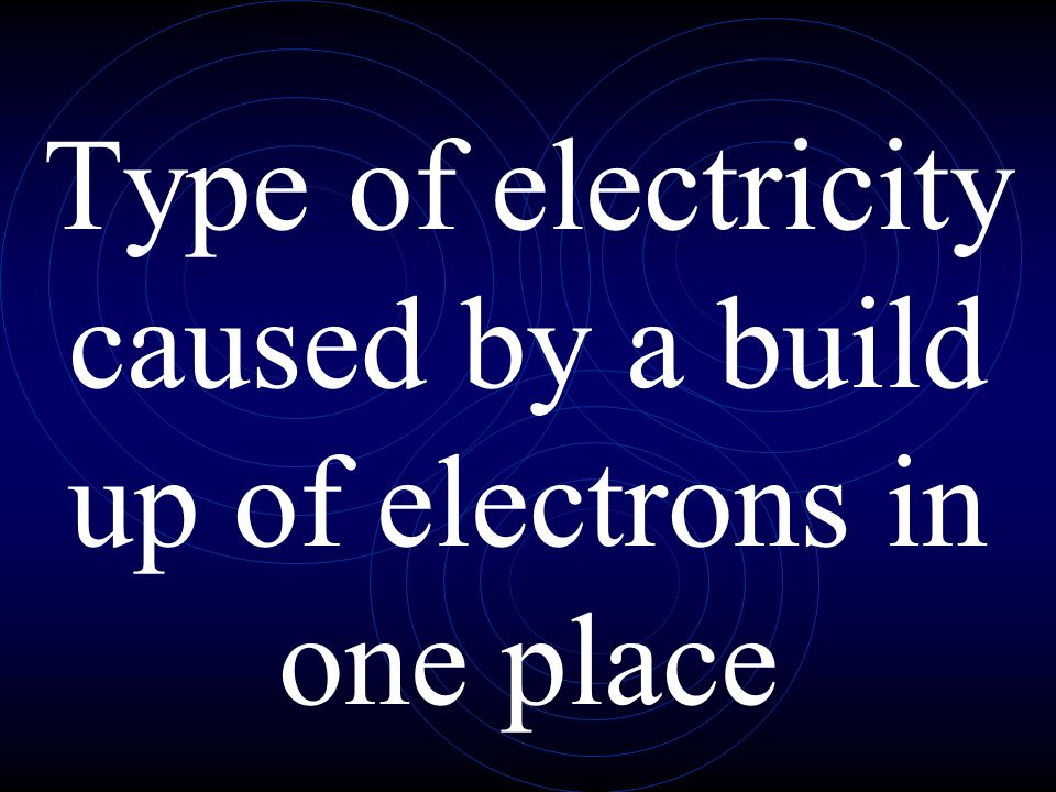 Type of electricity caused by a build up of electrons in one place