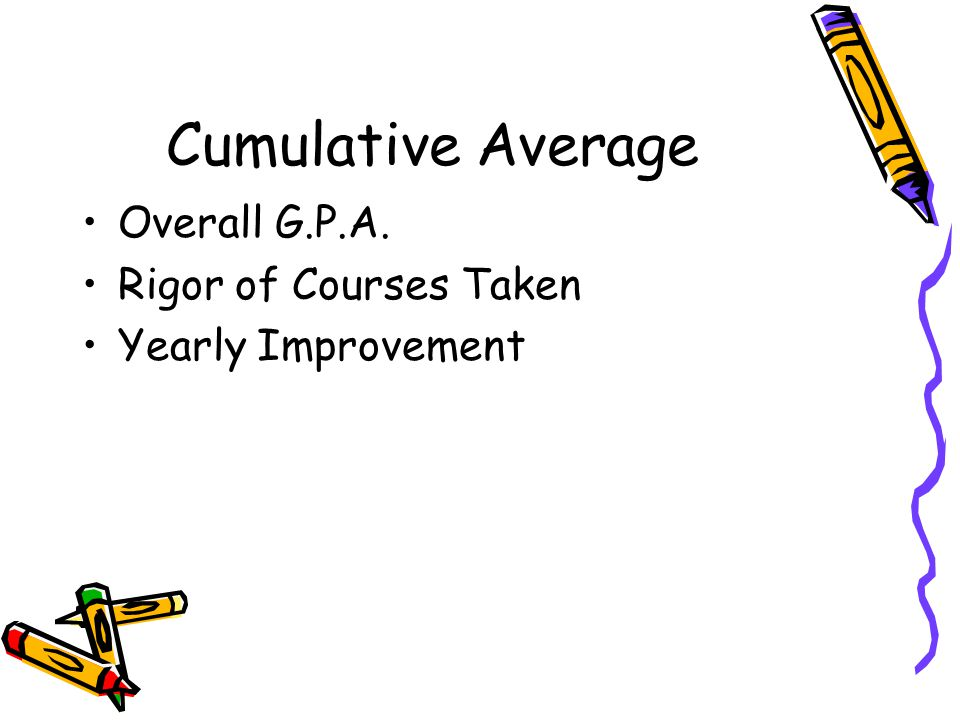 Cumulative Average Overall G.P.A. Rigor of Courses Taken Yearly Improvement