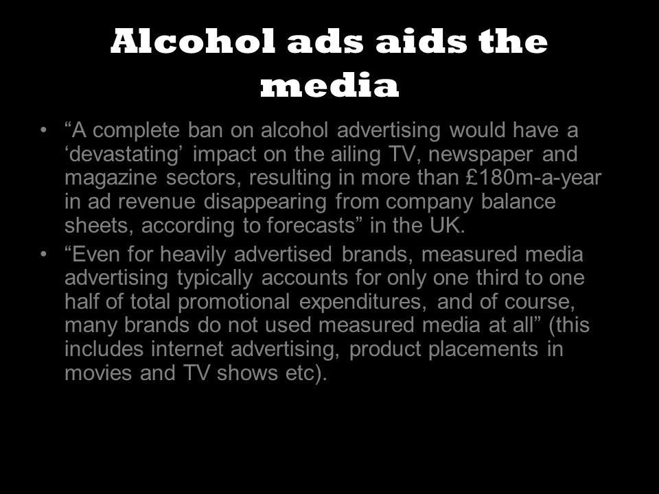 alcohol should not be advertised in the media