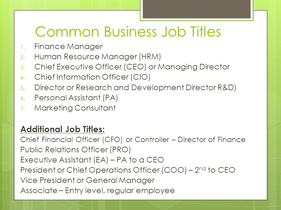 Job Descriptions and Dream Jobs March 20, Common Business Job Titles 1.  Finance Manager 2. Human Resource Manager (HRM) 3. Chief Executive Officer.  - ppt download
