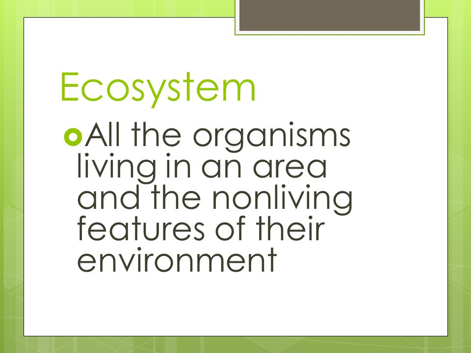 Ecosystem  All the organisms living in an area and the nonliving features of their environment