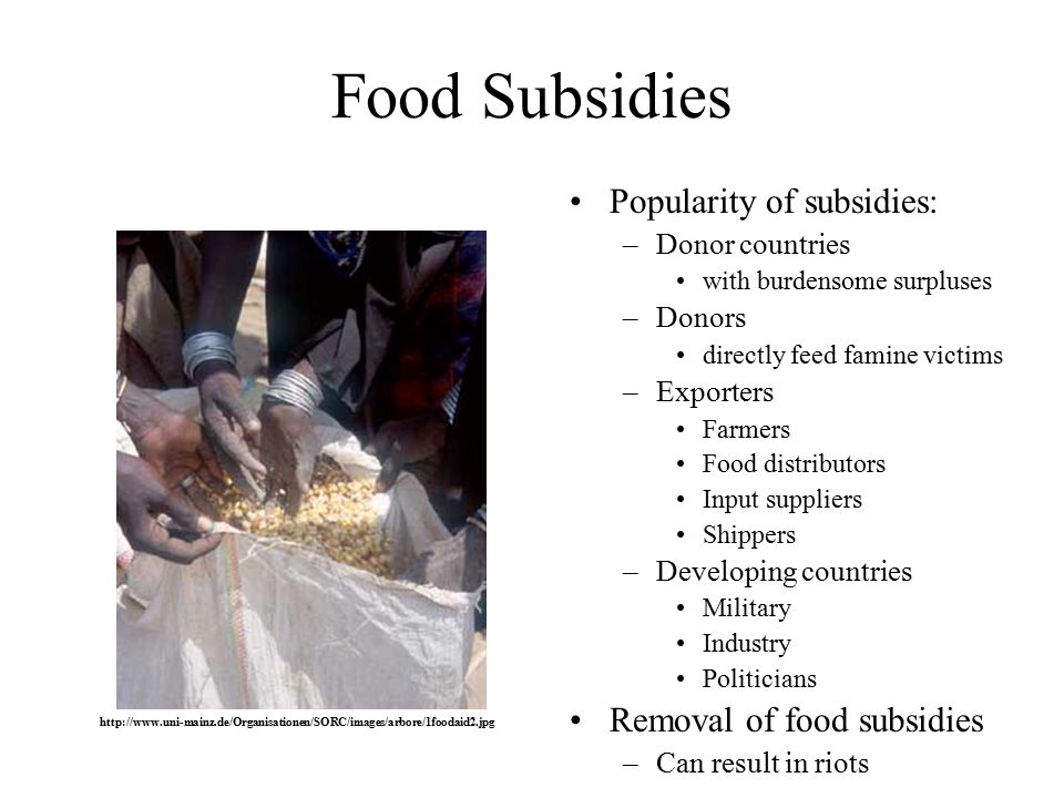Food Subsidies Popularity of subsidies: –Donor countries with burdensome surpluses –Donors directly feed famine victims –Exporters Farmers Food distributors Input suppliers Shippers –Developing countries Military Industry Politicians Removal of food subsidies –Can result in riots