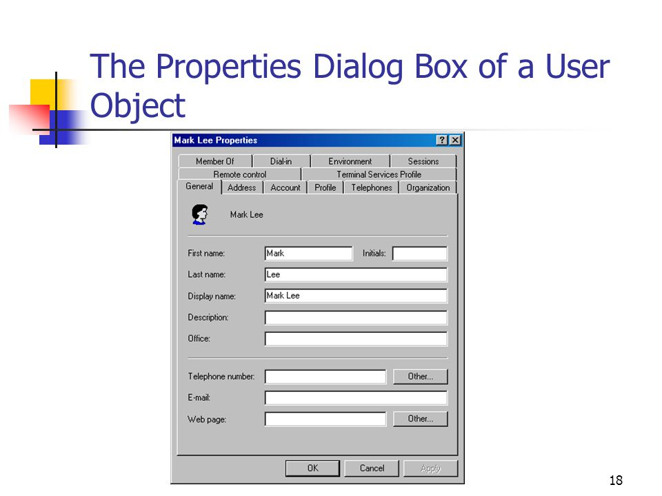 18 The Properties Dialog Box of a User Object