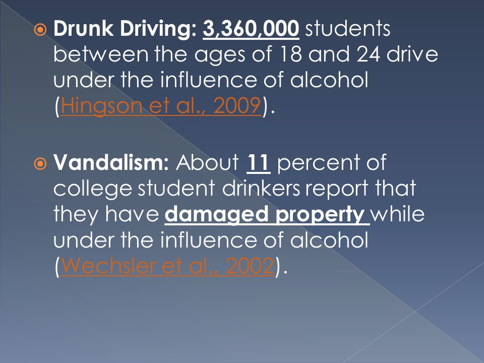  Drunk Driving: 3,360,000 students between the ages of 18 and 24 drive under the influence of alcohol (Hingson et al., 2009).Hingson et al., 2009  Vandalism: About 11 percent of college student drinkers report that they have damaged property while under the influence of alcohol (Wechsler et al., 2002).Wechsler et al., 2002