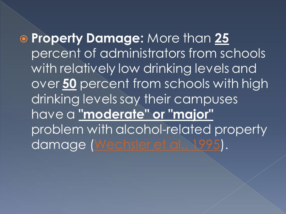  Property Damage: More than 25 percent of administrators from schools with relatively low drinking levels and over 50 percent from schools with high drinking levels say their campuses have a moderate or major problem with alcohol-related property damage (Wechsler et al., 1995).Wechsler et al., 1995