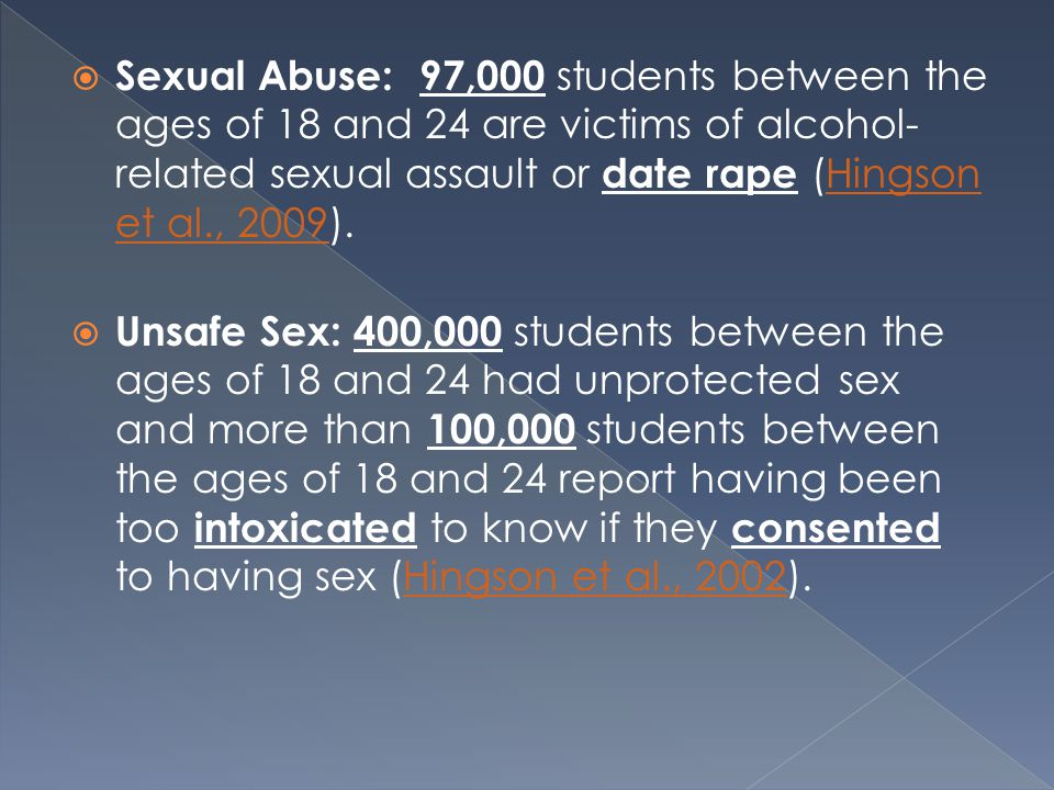  Sexual Abuse: 97,000 students between the ages of 18 and 24 are victims of alcohol- related sexual assault or date rape (Hingson et al., 2009).Hingson et al., 2009  Unsafe Sex: 400,000 students between the ages of 18 and 24 had unprotected sex and more than 100,000 students between the ages of 18 and 24 report having been too intoxicated to know if they consented to having sex (Hingson et al., 2002).Hingson et al., 2002