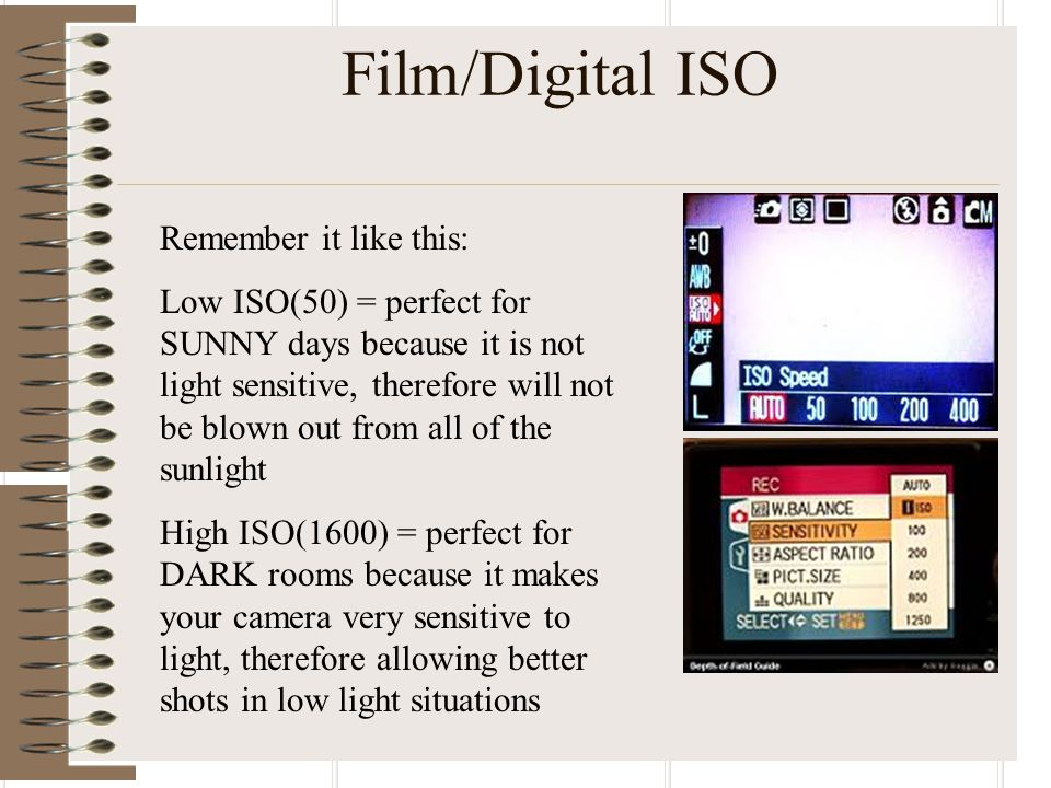 Film/Digital ISO Remember it like this: Low ISO(50) = perfect for SUNNY days because it is not light sensitive, therefore will not be blown out from all of the sunlight High ISO(1600) = perfect for DARK rooms because it makes your camera very sensitive to light, therefore allowing better shots in low light situations