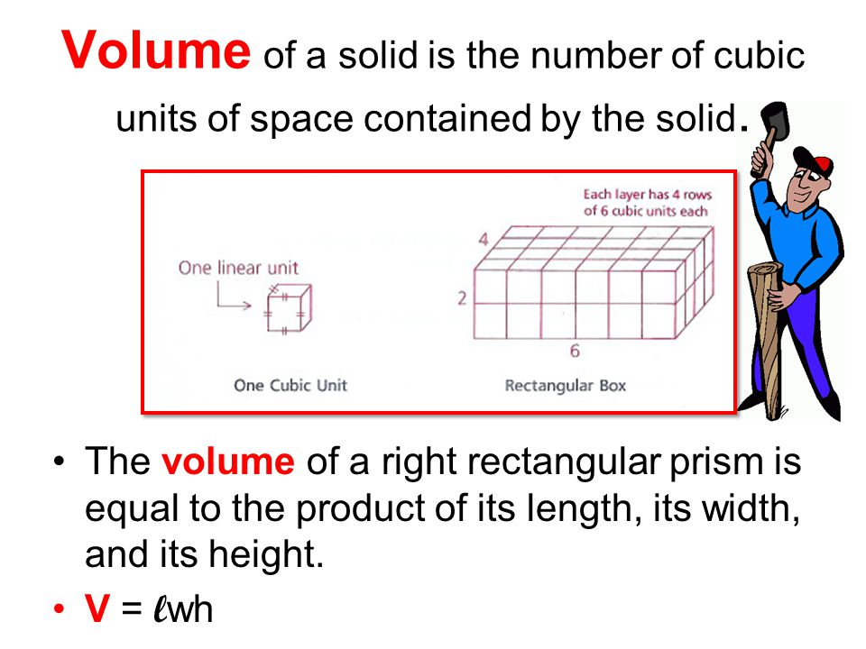 Volume of a solid is the number of cubic units of space contained by the solid.