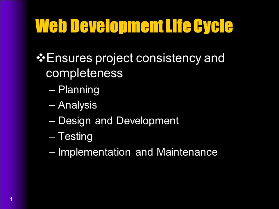 1 Web Development Life Cycle  Ensures project consistency and completeness –Planning –Analysis –Design and Development –Testing –Implementation and Maintenance