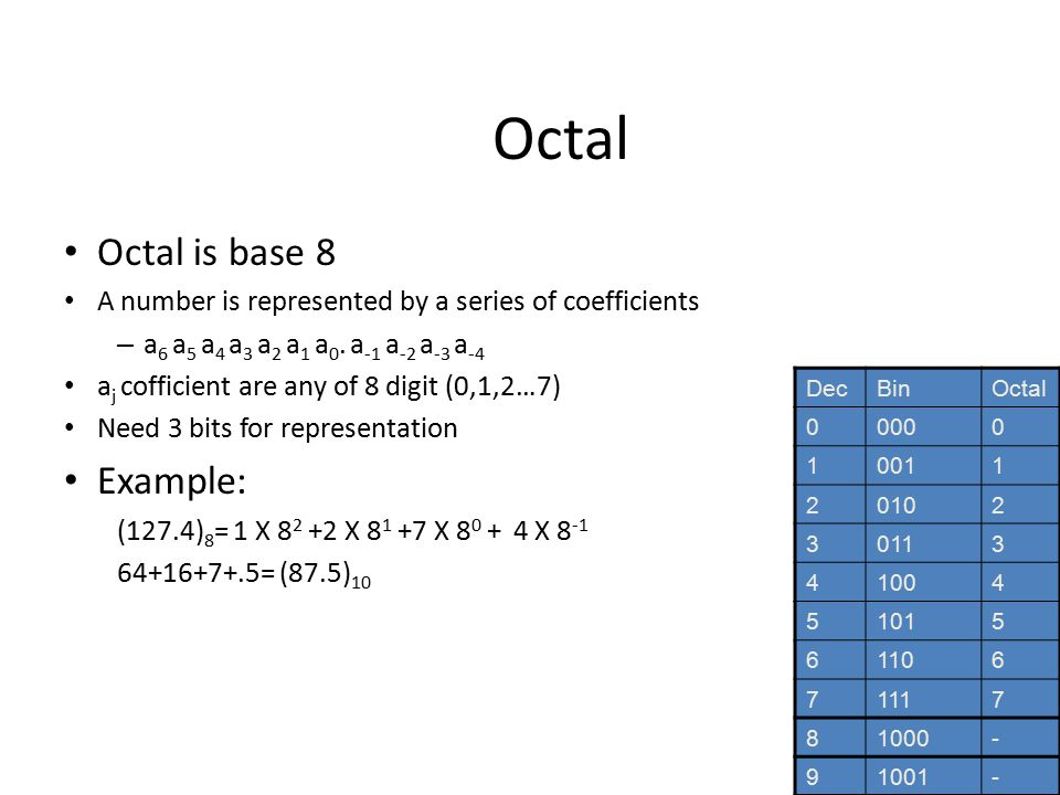 Octal Octal is base 8 A number is represented by a series of coefficients – a 6 a 5 a 4 a 3 a 2 a 1 a 0.