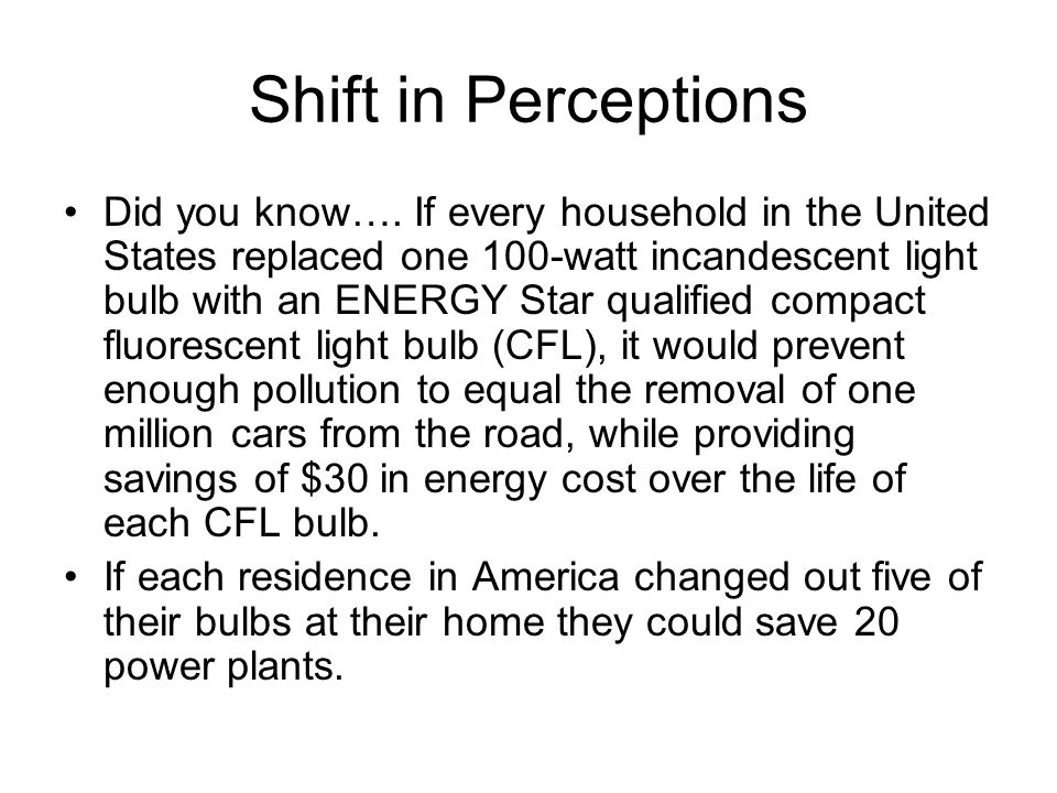 Shift in Perceptions Did you know….