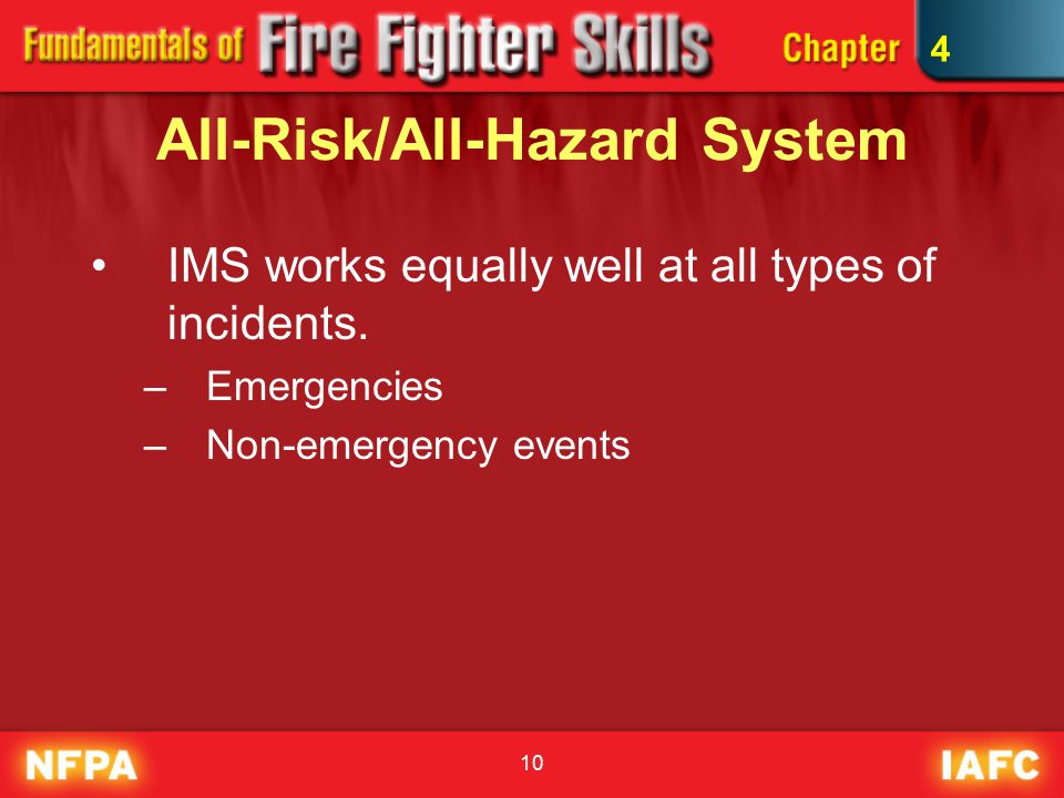 10 All-Risk/All-Hazard System IMS works equally well at all types of incidents.
