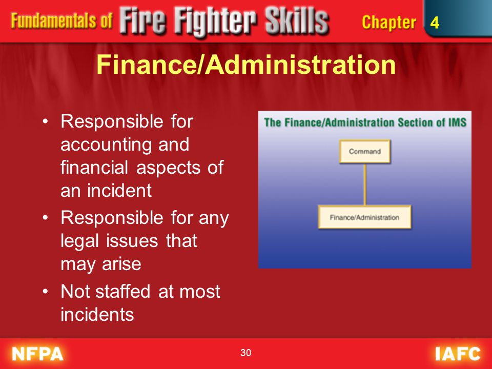 30 Finance/Administration Responsible for accounting and financial aspects of an incident Responsible for any legal issues that may arise Not staffed at most incidents 4
