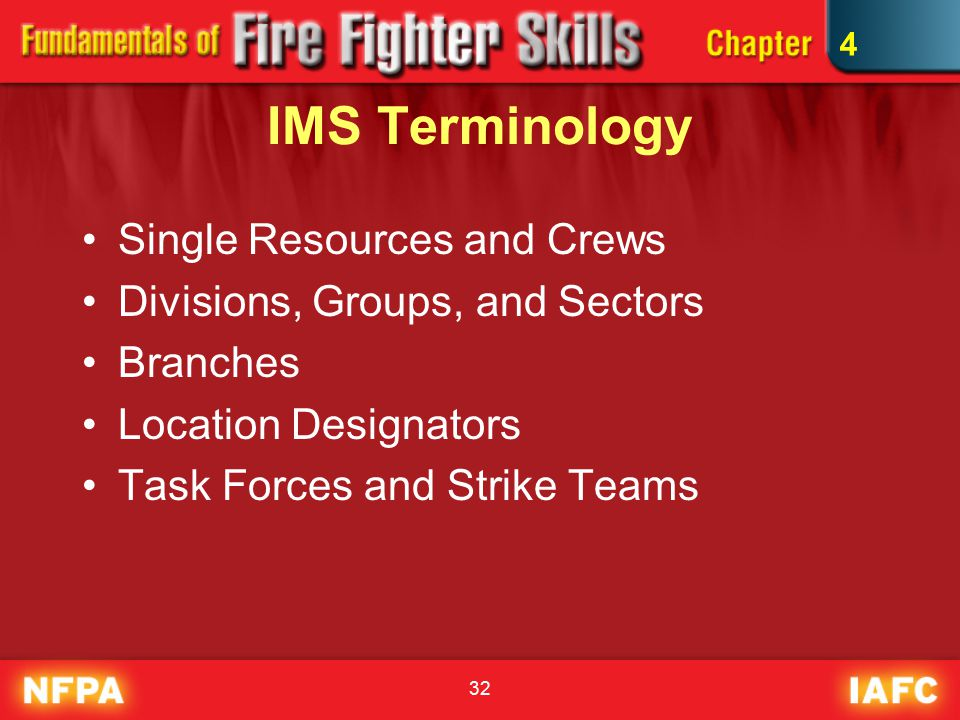 32 IMS Terminology Single Resources and Crews Divisions, Groups, and Sectors Branches Location Designators Task Forces and Strike Teams 4