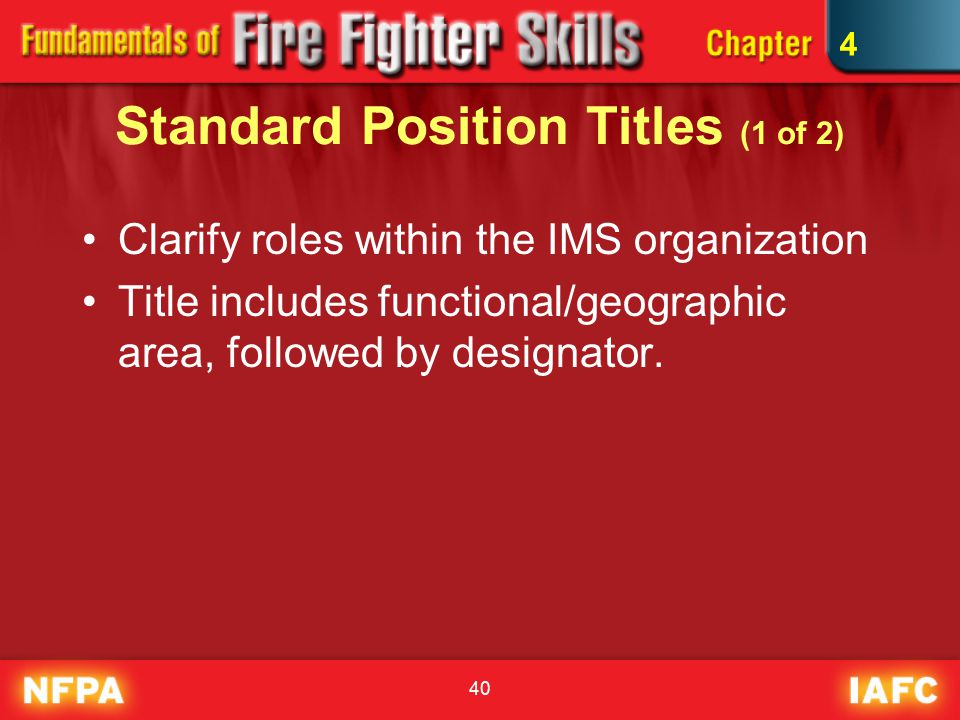 40 Standard Position Titles (1 of 2) Clarify roles within the IMS organization Title includes functional/geographic area, followed by designator.
