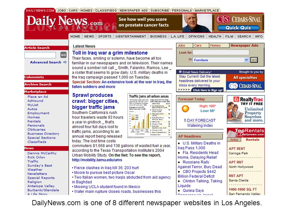 DailyNews.com is one of 8 different newspaper websites in Los Angeles.