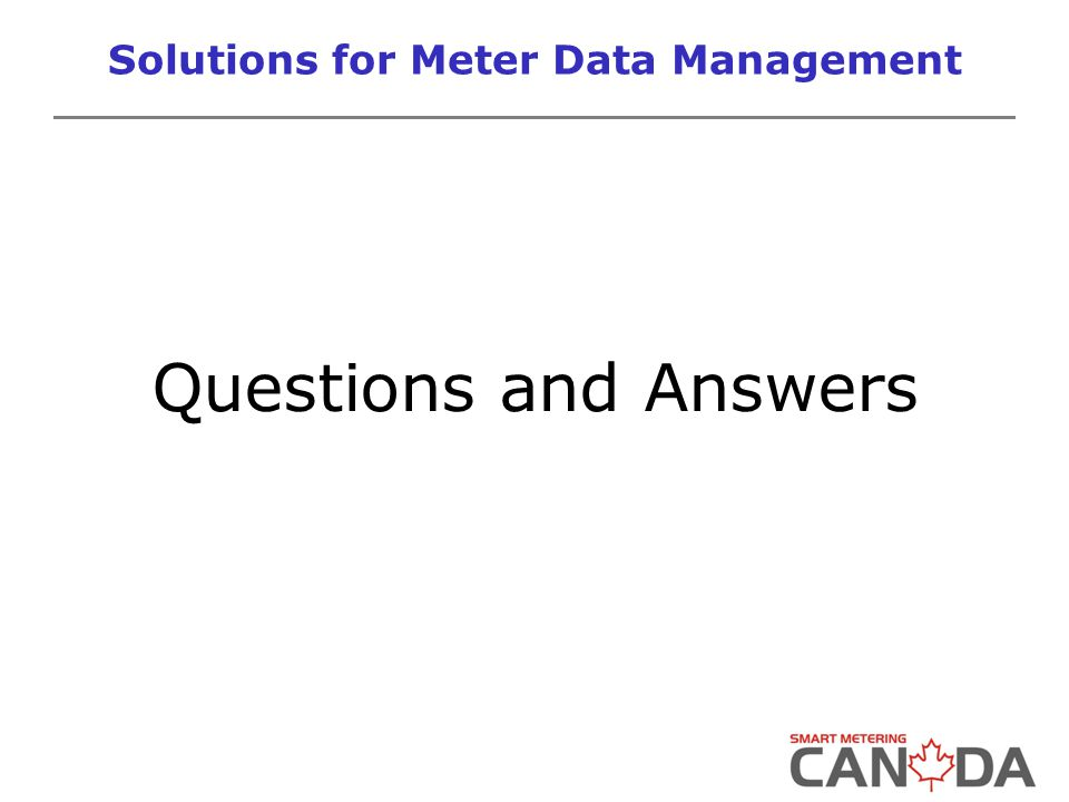 Solutions for Meter Data Management Questions and Answers