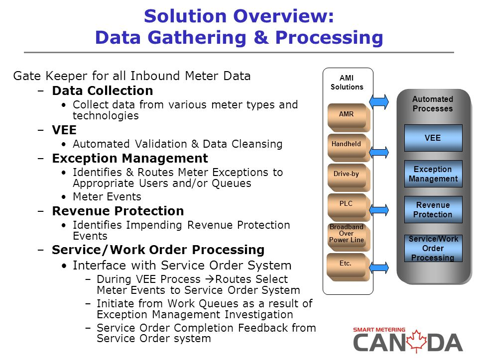 Solution Overview: Data Gathering & Processing Gate Keeper for all Inbound Meter Data –Data Collection Collect data from various meter types and technologies –VEE Automated Validation & Data Cleansing –Exception Management Identifies & Routes Meter Exceptions to Appropriate Users and/or Queues Meter Events –Revenue Protection Identifies Impending Revenue Protection Events –Service/Work Order Processing Interface with Service Order System –During VEE Process  Routes Select Meter Events to Service Order System –Initiate from Work Queues as a result of Exception Management Investigation –Service Order Completion Feedback from Service Order system AMI Solutions AMR Handheld Drive-by PLC Broadband Over Power Line Etc.