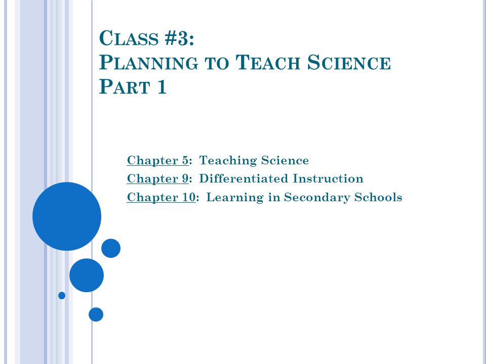 C Lass 3 P Lanning To T Each S Cience P Art 1 Chapter 5 Teaching