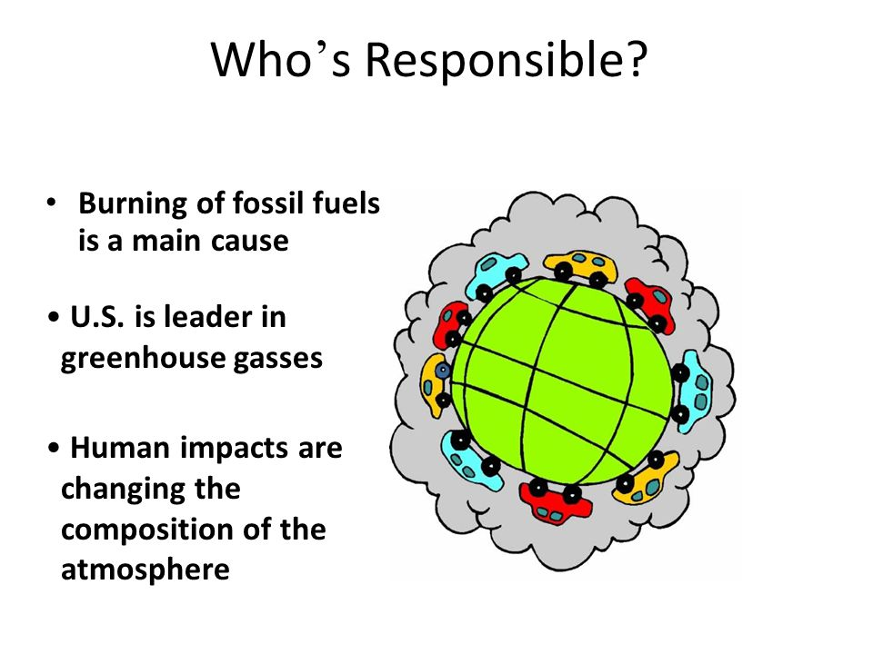 Who ' s Responsible. Burning of fossil fuels is a main cause U.S.