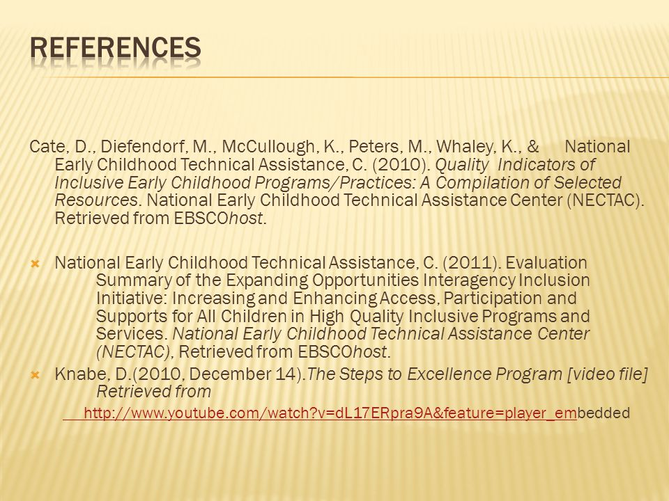 Cate, D., Diefendorf, M., McCullough, K., Peters, M., Whaley, K., & National Early Childhood Technical Assistance, C.