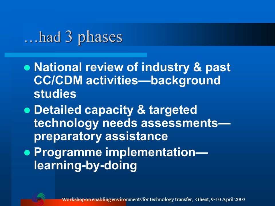 Workshop on enabling environments for technology transfer, Ghent, 9-10 April 2003 …had 3 phases National review of industry & past CC/CDM activities—background studies Detailed capacity & targeted technology needs assessments— preparatory assistance Programme implementation— learning-by-doing