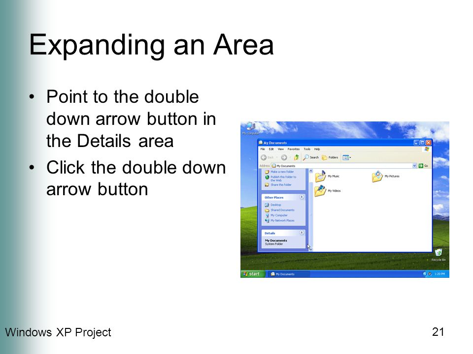 Windows XP Project 21 Expanding an Area Point to the double down arrow button in the Details area Click the double down arrow button