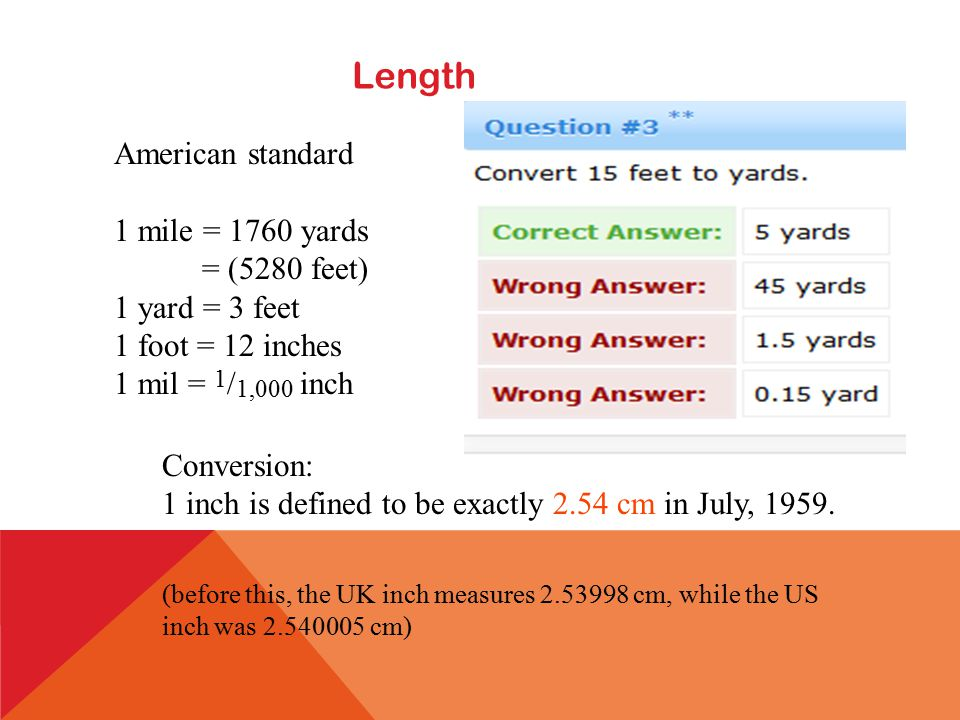 UNIT 2 REVIEW CUSTOMARY LENGTH 12 inches (in) = 1 foot (ft