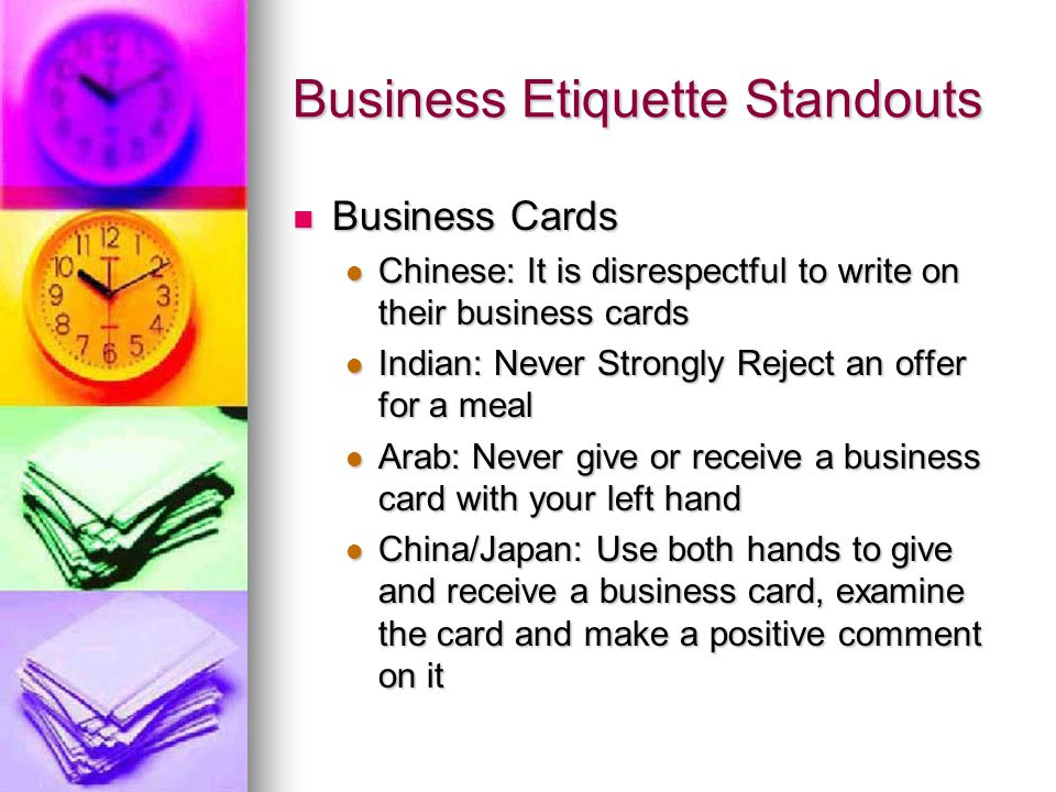 Business Etiquette. Agenda Introduction Introduction Business ...