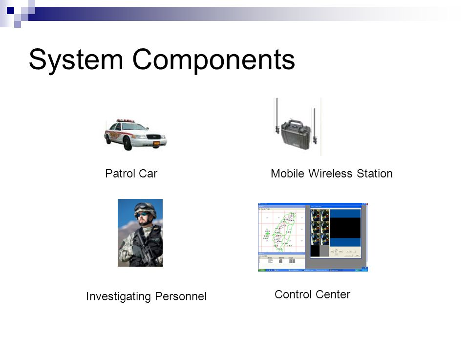 System Components Patrol CarMobile Wireless Station Investigating Personnel Control Center