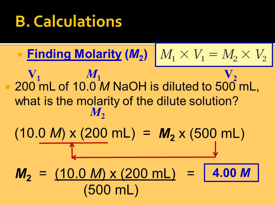 2200 mL of 10.0 M NaOH is diluted to 500 mL, what is the molarity of the dilute solution.