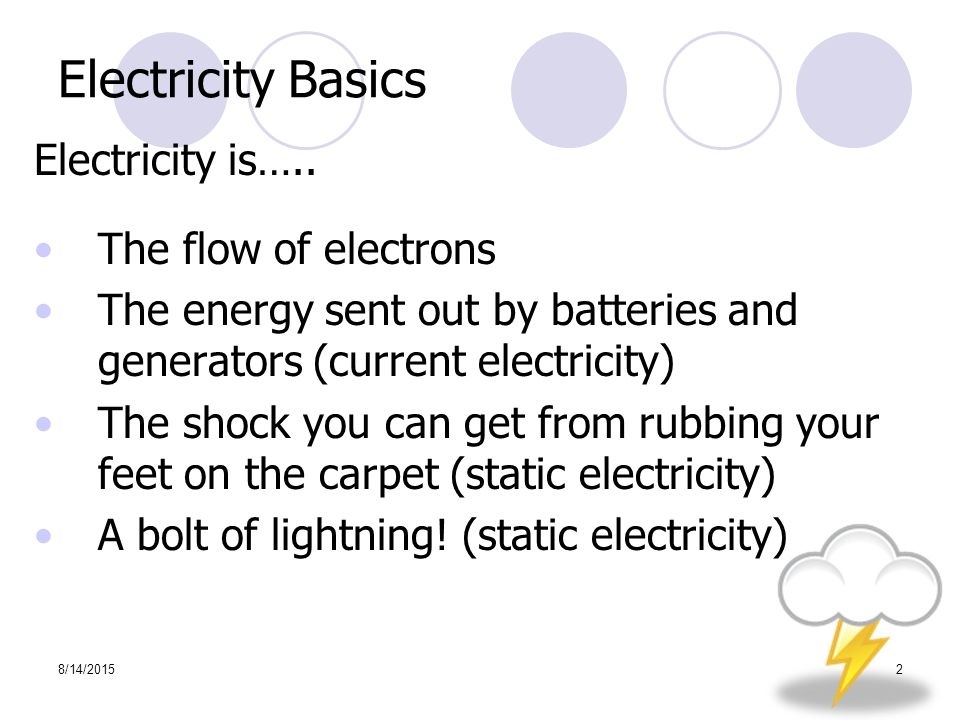 8/14/20152 Electricity Basics Electricity is…..