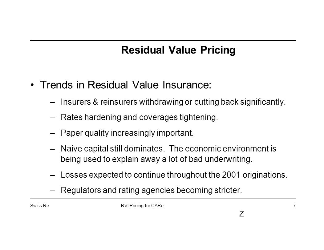 Swiss Rervi Pricing For Care Z 1 Residual Value Pricing Casualty
