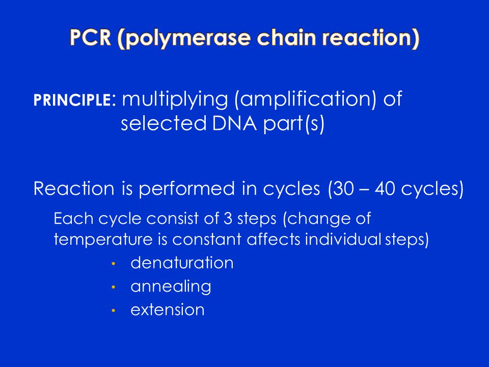 PRINCIPLE : multiplying (amplification) of selected DNA part(s) Reaction is performed in cycles (30 – 40 cycles) Each cycle consist of 3 steps (change of temperature is constant affects individual steps) denaturation annealing extension