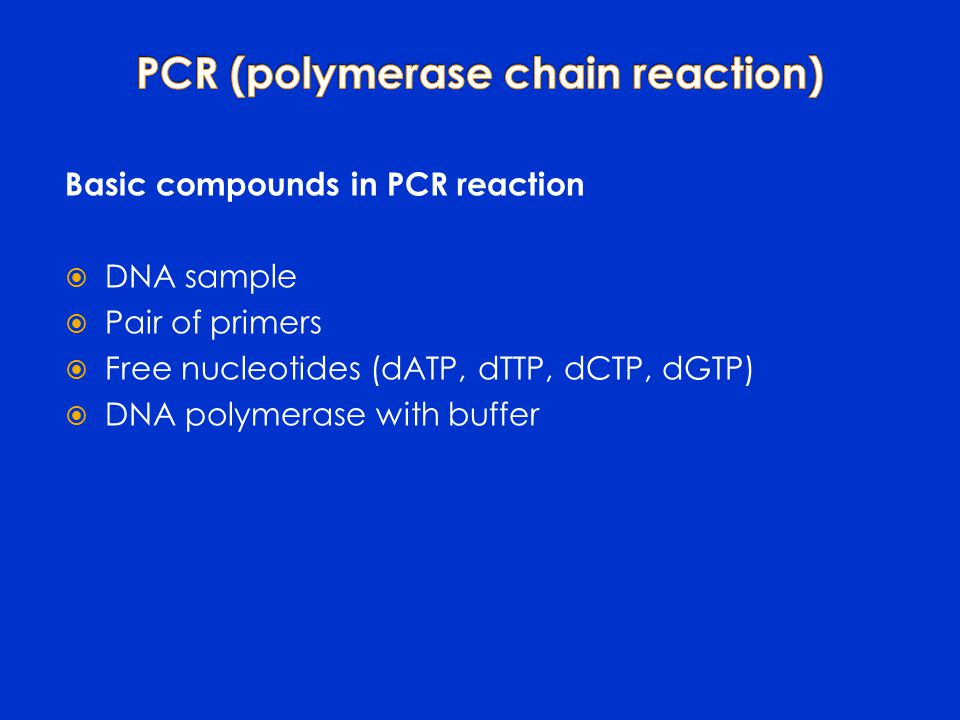 Basic compounds in PCR reaction  DNA sample  Pair of primers  Free nucleotides (dATP, dTTP, dCTP, dGTP)  DNA polymerase with buffer