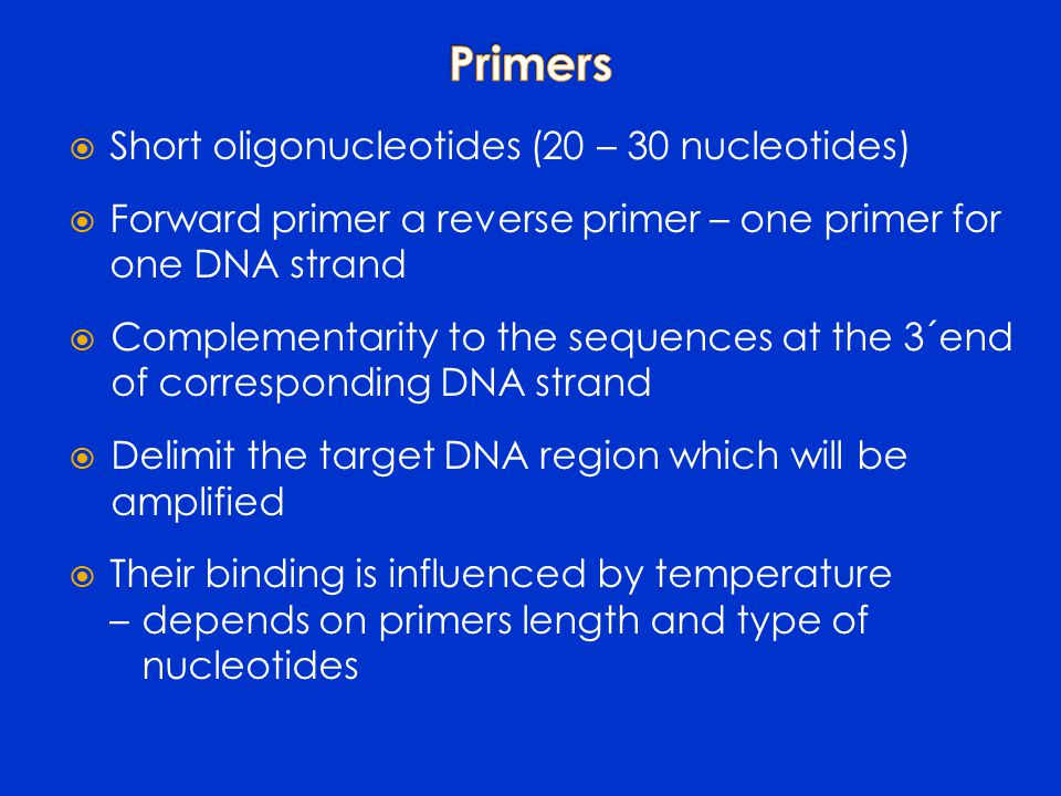 Short oligonucleotides (20 – 30 nucleotides)  Forward primer a reverse primer – one primer for one DNA strand  Complementarity to the sequences at the 3´end of corresponding DNA strand  Delimit the target DNA region which will be amplified  Their binding is influenced by temperature – depends on primers length and type of nucleotides