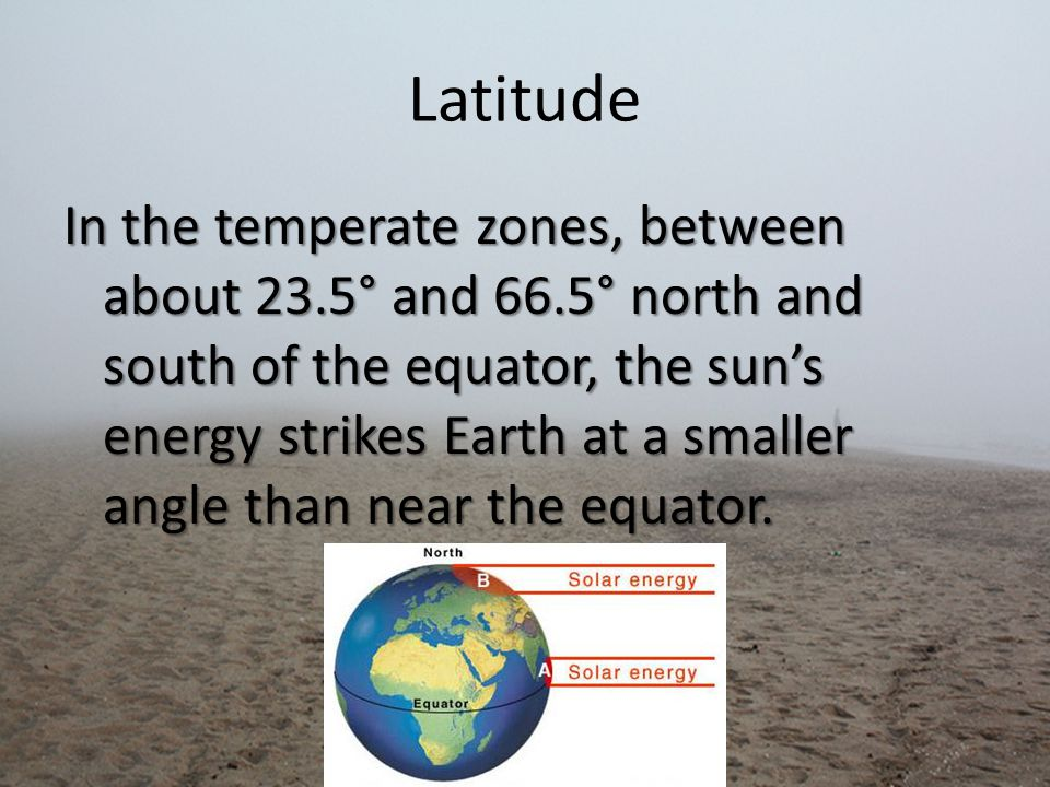 Latitude In the temperate zones, between about 23.5° and 66.5° north and south of the equator, the sun's energy strikes Earth at a smaller angle than near the equator.