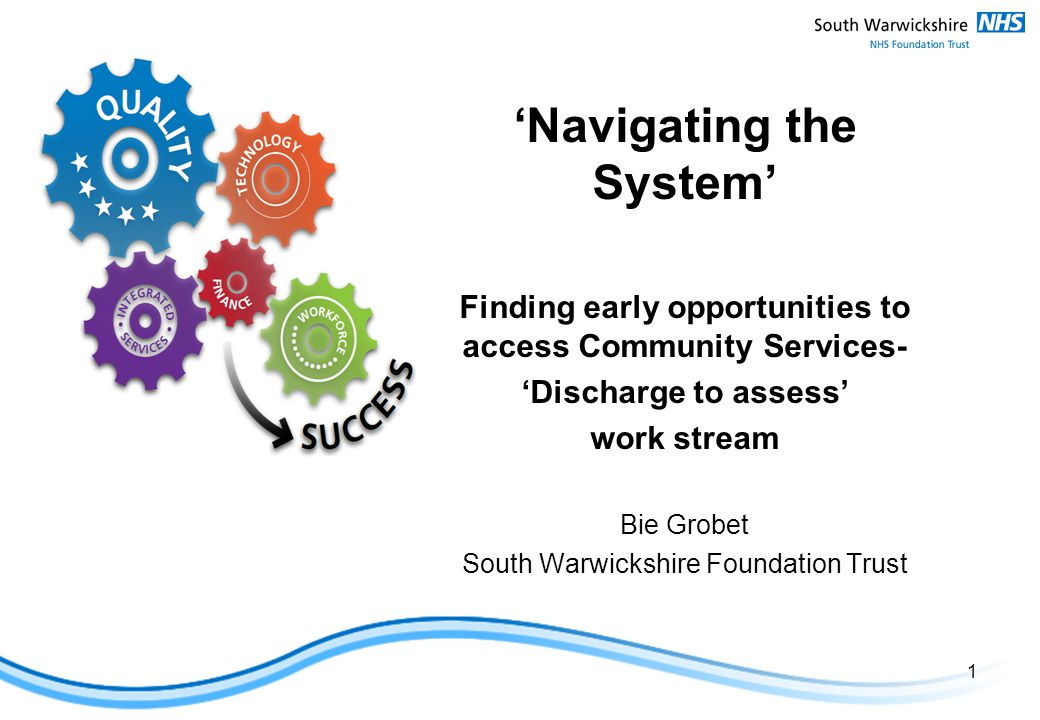 'Navigating the System' Finding early opportunities to access Community Services- 'Discharge to assess' work stream Bie Grobet South Warwickshire Foundation Trust 1