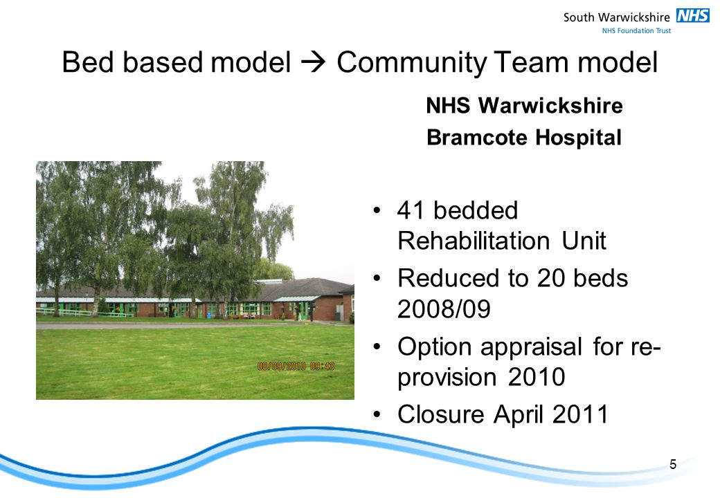 Bed based model  Community Team model NHS Warwickshire Bramcote Hospital 41 bedded Rehabilitation Unit Reduced to 20 beds 2008/09 Option appraisal for re- provision 2010 Closure April