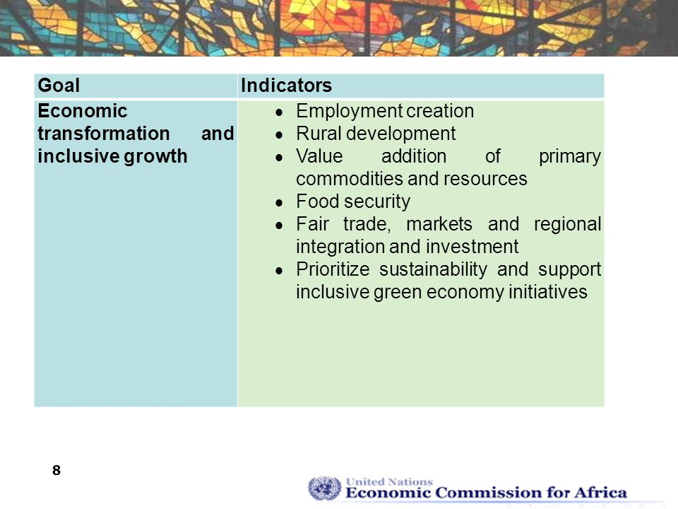 8 GoalIndicators Economic transformation and inclusive growth  Employment creation  Rural development  Value addition of primary commodities and resources  Food security  Fair trade, markets and regional integration and investment  Prioritize sustainability and support inclusive green economy initiatives