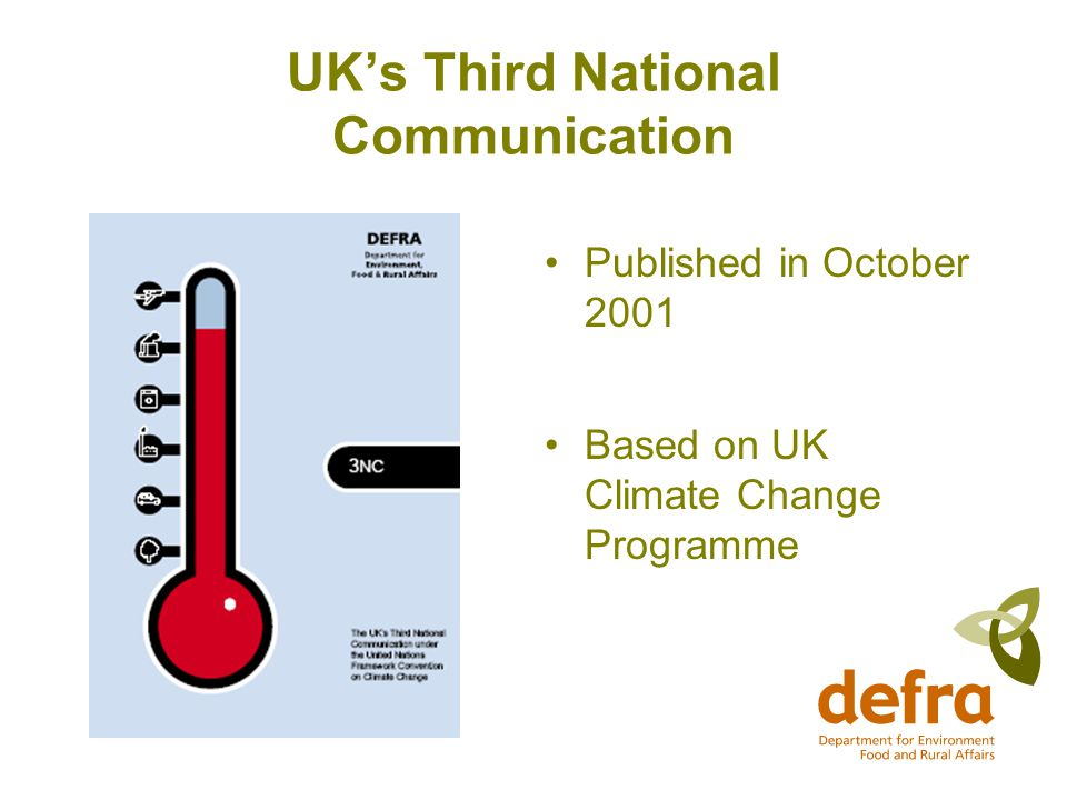 UK's Third National Communication Published in October 2001 Based on UK Climate Change Programme