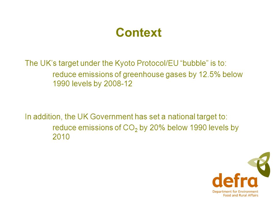 Context The UK's target under the Kyoto Protocol/EU bubble is to: reduce emissions of greenhouse gases by 12.5% below 1990 levels by In addition, the UK Government has set a national target to: reduce emissions of CO 2 by 20% below 1990 levels by 2010