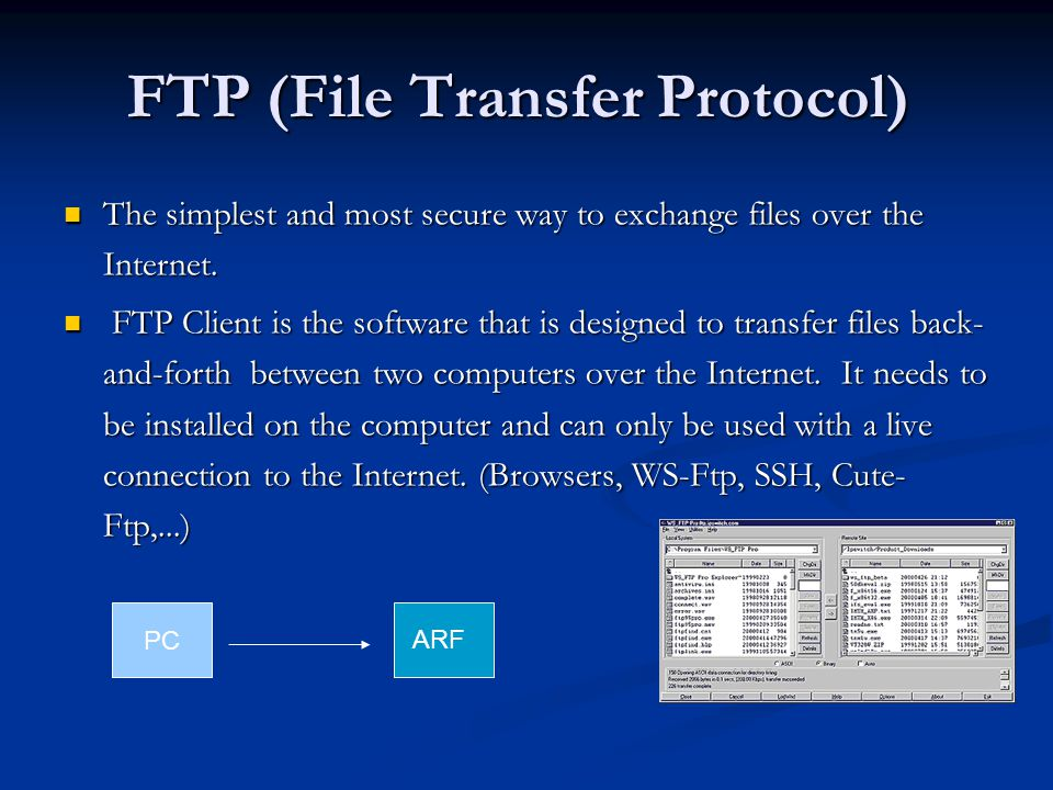 FTP (File Transfer Protocol) The simplest and most secure way to exchange files over the Internet.