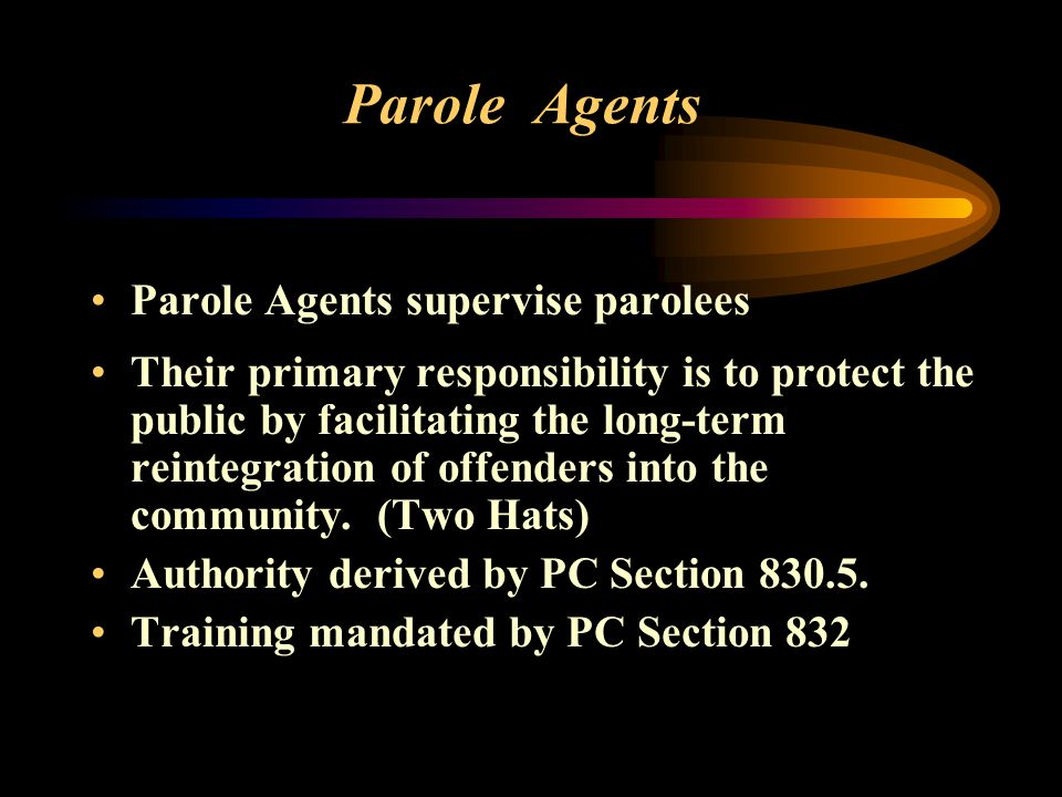 Parole Agents Parole Agents supervise parolees Their primary responsibility is to protect the public by facilitating the long-term reintegration of offenders into the community.