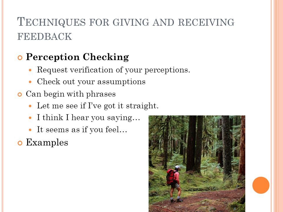 T ECHNIQUES FOR GIVING AND RECEIVING FEEDBACK Perception Checking Request verification of your perceptions.