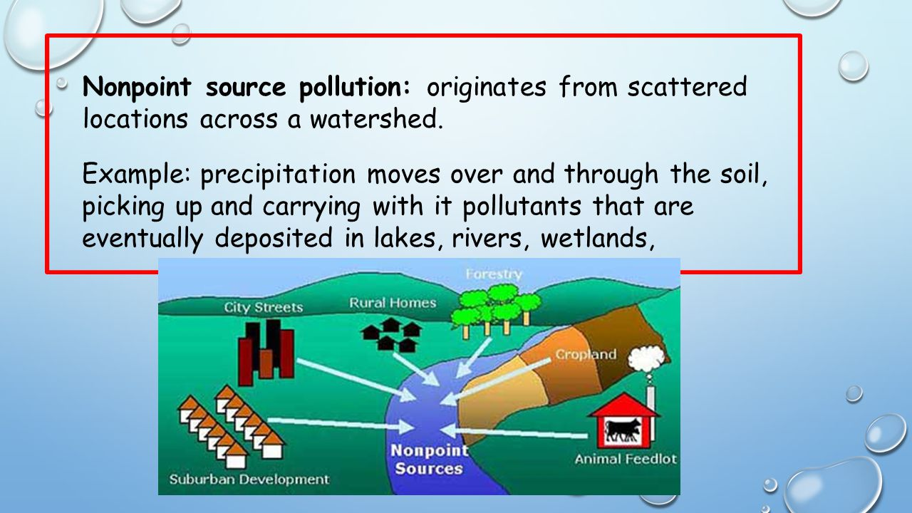 Nonpoint source pollution: originates from scattered locations across a watershed.