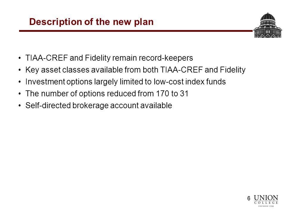 Changes to Union College Retirement Plan AGENDA: Retirement Plan
