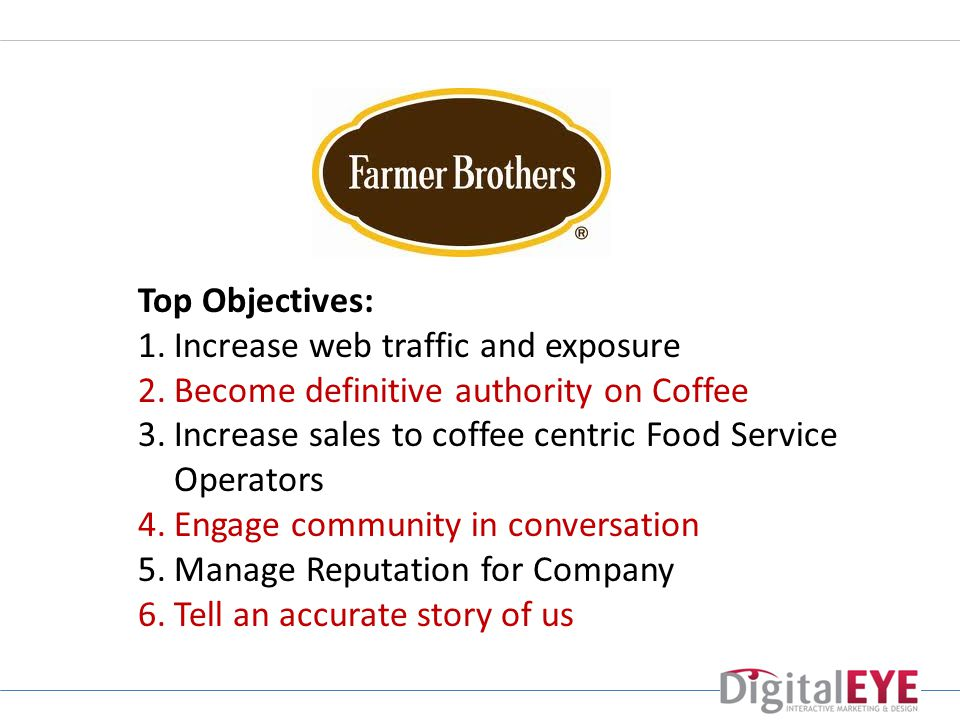 Top Objectives: 1.Increase web traffic and exposure 2.Become definitive authority on Coffee 3.Increase sales to coffee centric Food Service Operators 4.Engage community in conversation 5.Manage Reputation for Company 6.Tell an accurate story of us