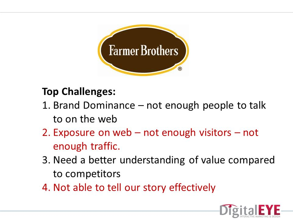 Top Challenges: 1.Brand Dominance – not enough people to talk to on the web 2.Exposure on web – not enough visitors – not enough traffic.