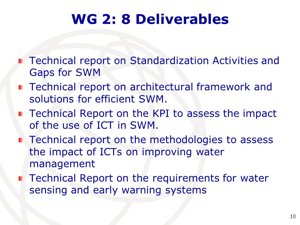 WG 2: 8 Deliverables Technical report on Standardization Activities and Gaps for SWM Technical report on architectural framework and solutions for efficient SWM.